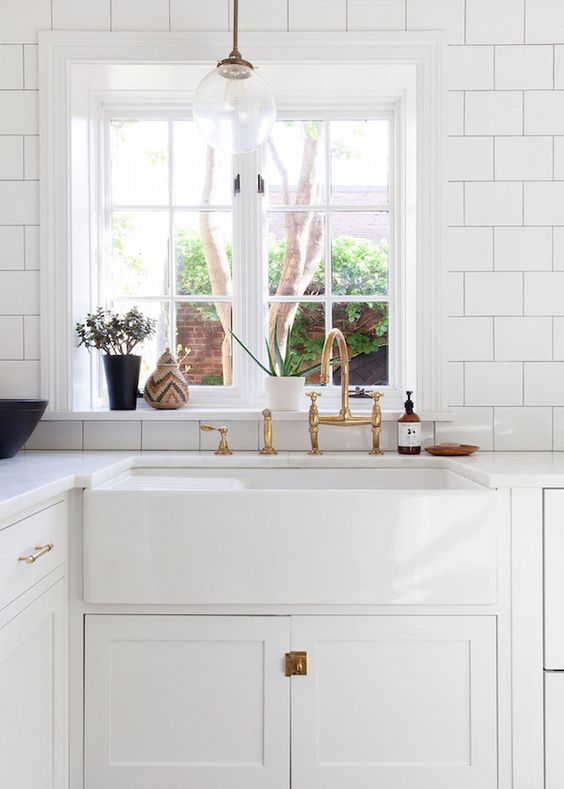 Farmhouse sinks kitchen inspiration the inspired room for Farm style kitchen handles