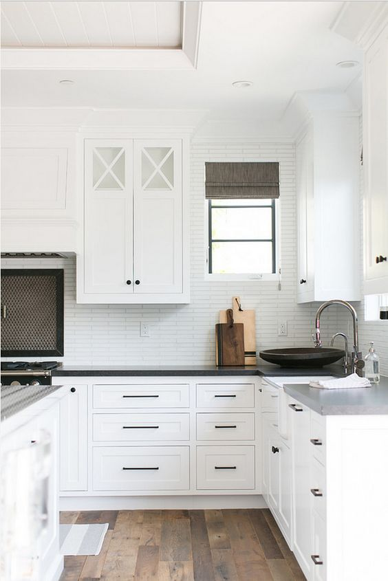lovely Black Pulls For Kitchen Cabinets #2: White Kitchen with Black Hardware - Brooke Wagner Design