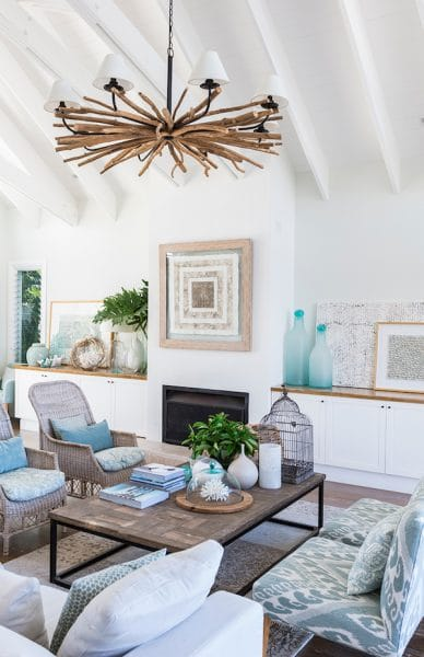 White Walls Coastal Inspired Living Room - Cove Interiors