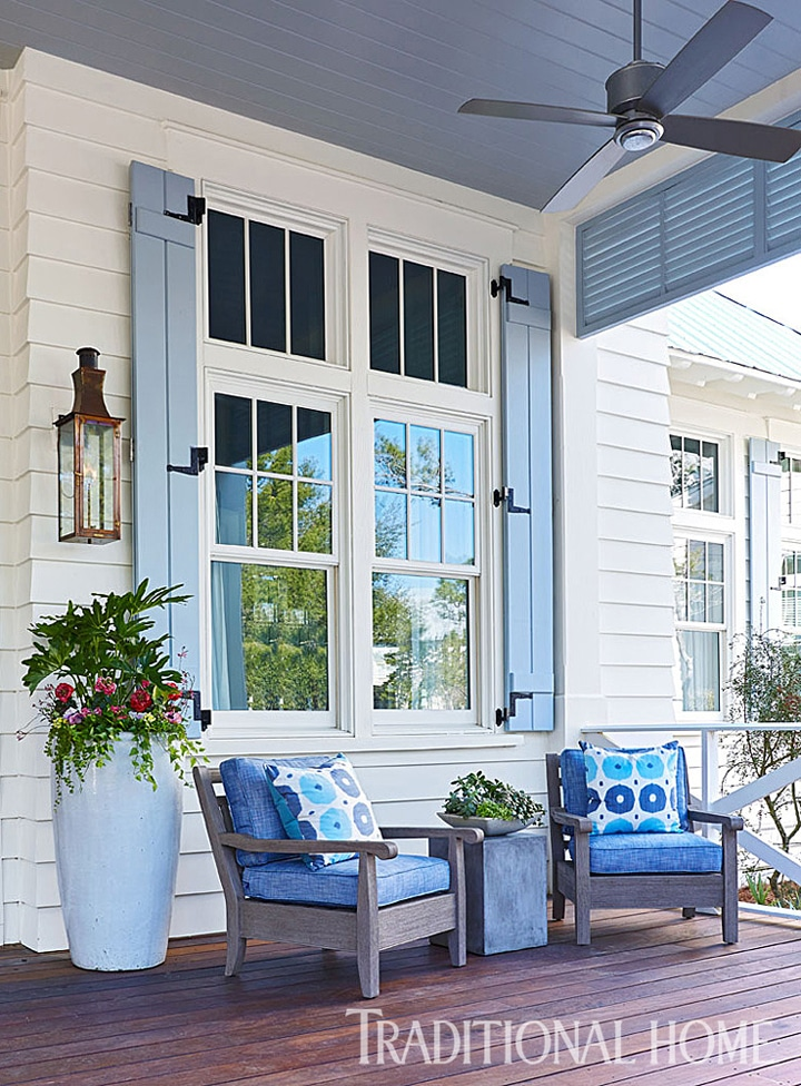 Coastal Porch Traditional Home - Click through for more beautiful coastal rooms!