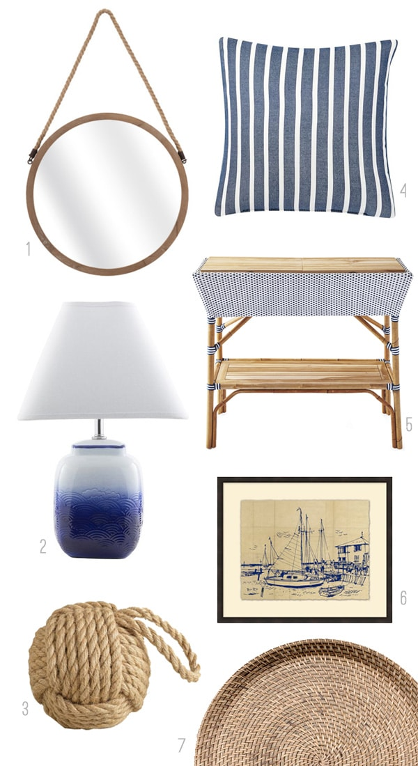 Coastal Style Home Accessories - The Inspired Room Click through to theinspiredroom.net to find a round up of coastal style rooms!