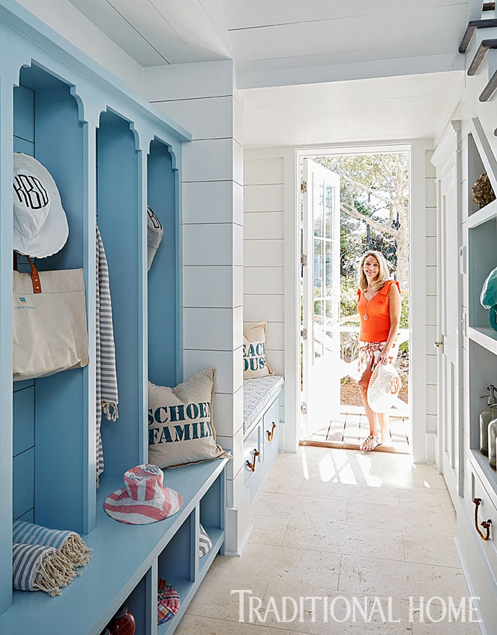 Coastal Style Nautical Mudroom Traditional Home - Click through for more beautiful coastal rooms!