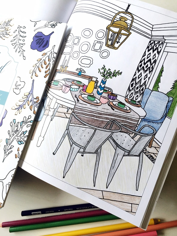 Interior design coloring book the inspired room the for Interior design books