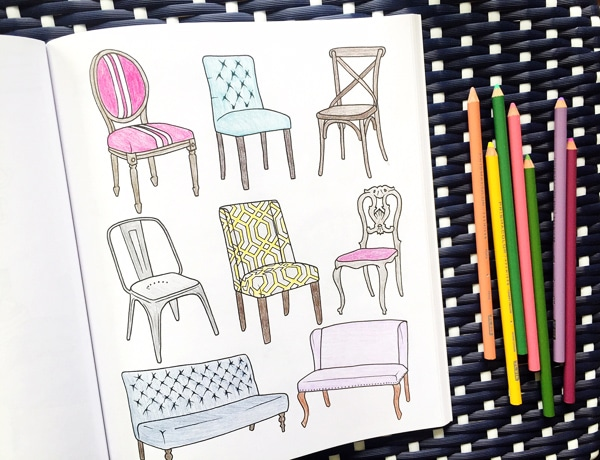 Interior Design Adult Coloring Book - The Inspired Room