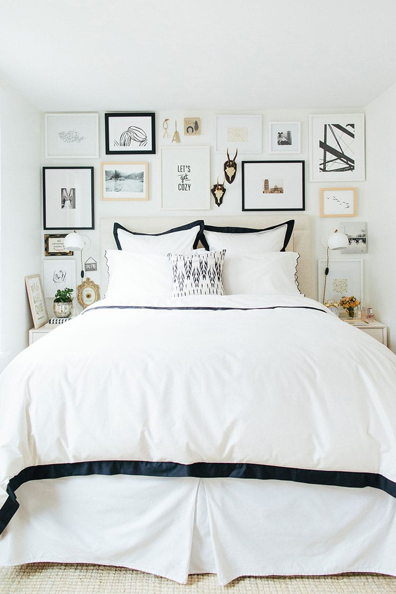 9 ways to decorate above a bed the inspired room - Bed frames for small rooms ...