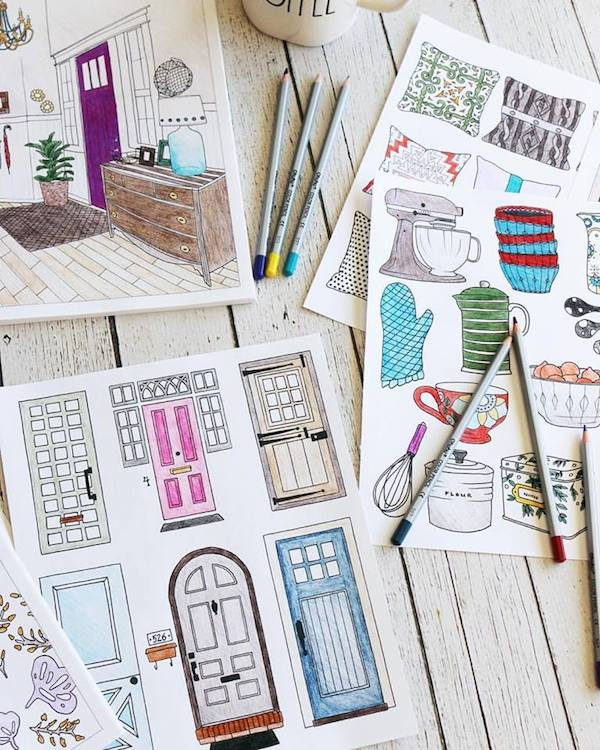 Colorful Book Room: Interior Design Coloring Book