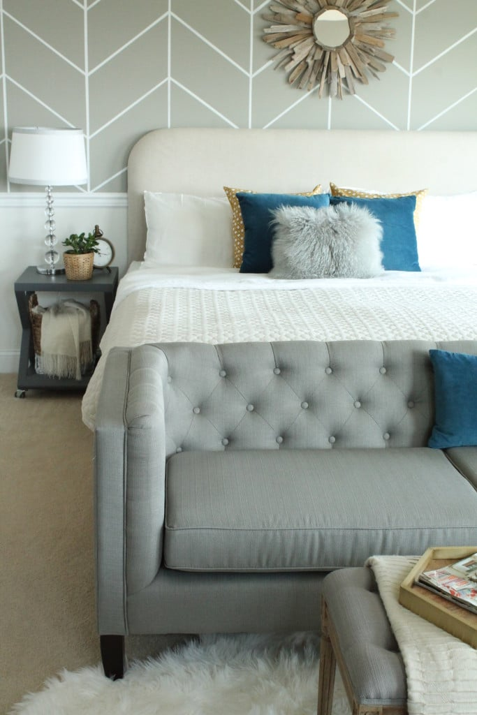 Tufted sofa at the end of the bed - City Farmhouse - Click through for ideas for what to put at the end of the bed!