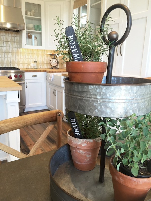 Herb Garden on Tiered Metal Tray - Farmhouse Street of Dreams - The Inspired Room