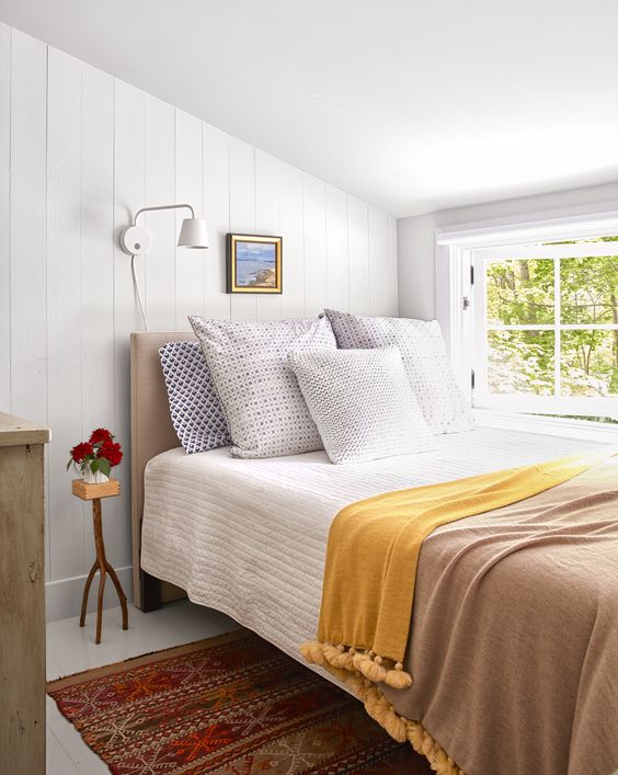 Small Bedroom Decorating - White Shiplap Walls - Tiny Cottage In Maine Tour