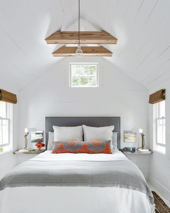 Small bedroom inspiration - white shiplap paneling - Tiny Cottage In Maine Tour