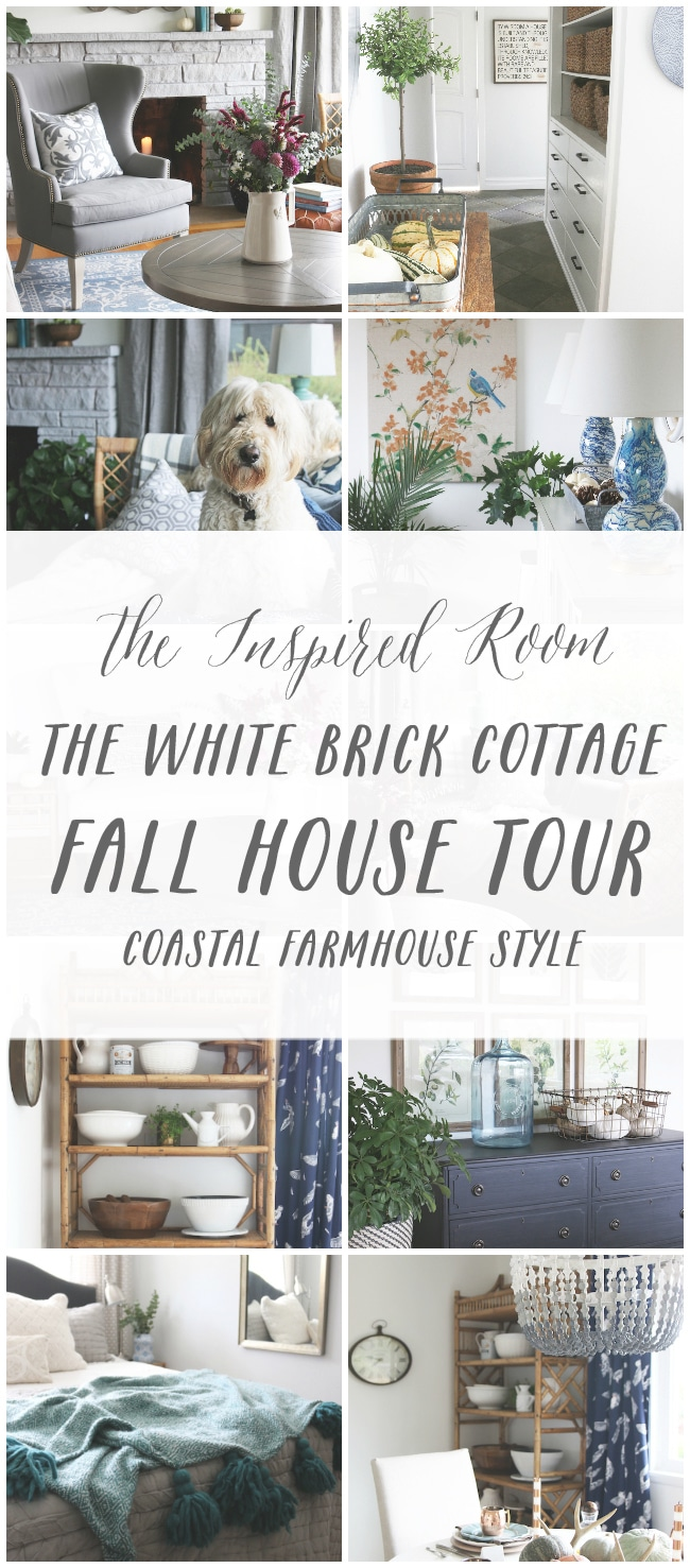Click through to see a fall house tour of this small white brick cottage with eclectic coastal farmhouse style.