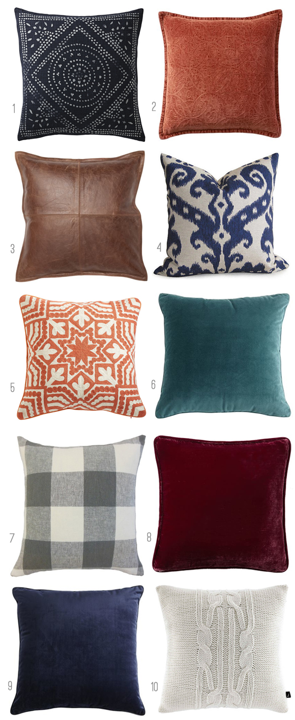Pillows for Fall - Click Through for Sources - Fall Nesting - The Inspired Room Fall Decorating
