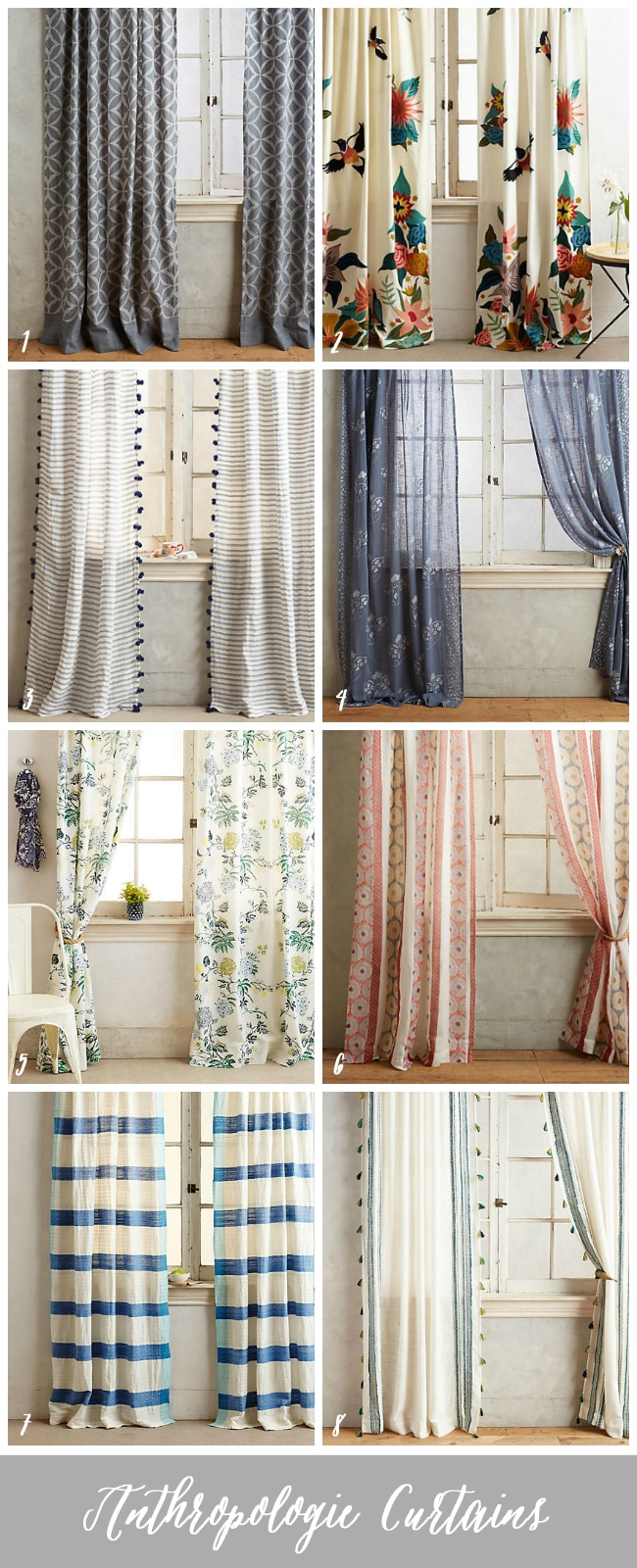 Curtains (source links in the post) that can make a statement in your room