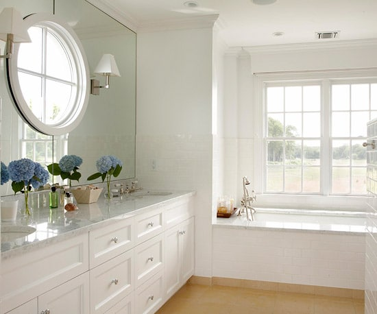 Round window inspiration - bathroom round window over sink