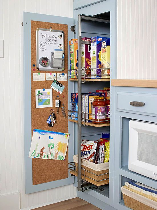 Slide out kitchen pantry drawers and cork board - kitchen organization