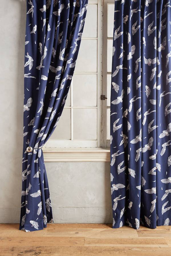 Whimsical navy curtain panels
