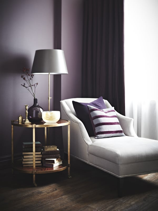 Decorating with moody colors the inspired room Purple accent wall in living room