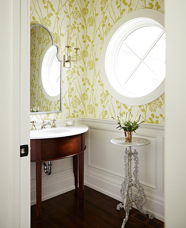 Round window inspiration - powder bath with round window by Sarah Richardson