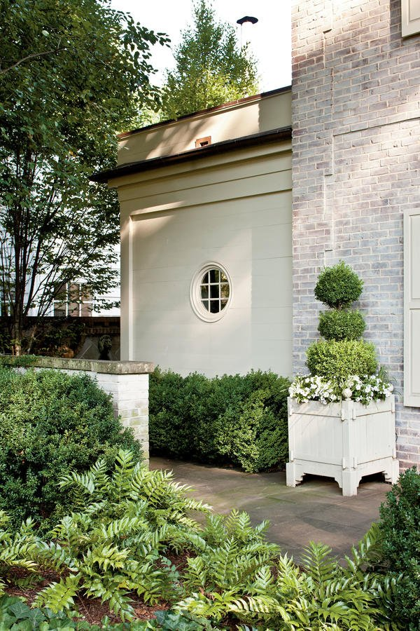 Round window inspiration - white brick exterior