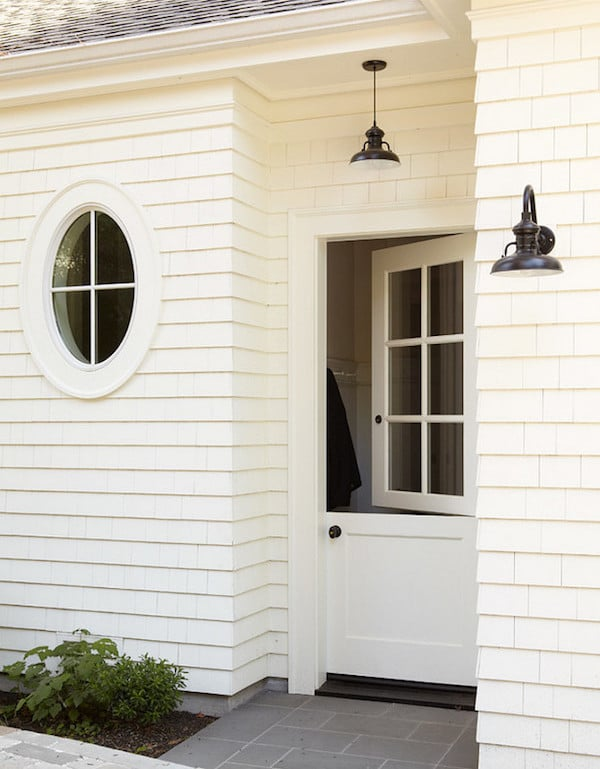 Round window inspiration - white exterior with black barn lights