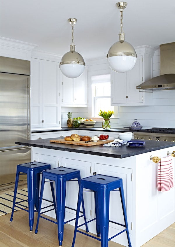 A peek at the inspiring portfolio of Chango and Co. Click through for more! - White Shiplap Kitchen with Navy Stools