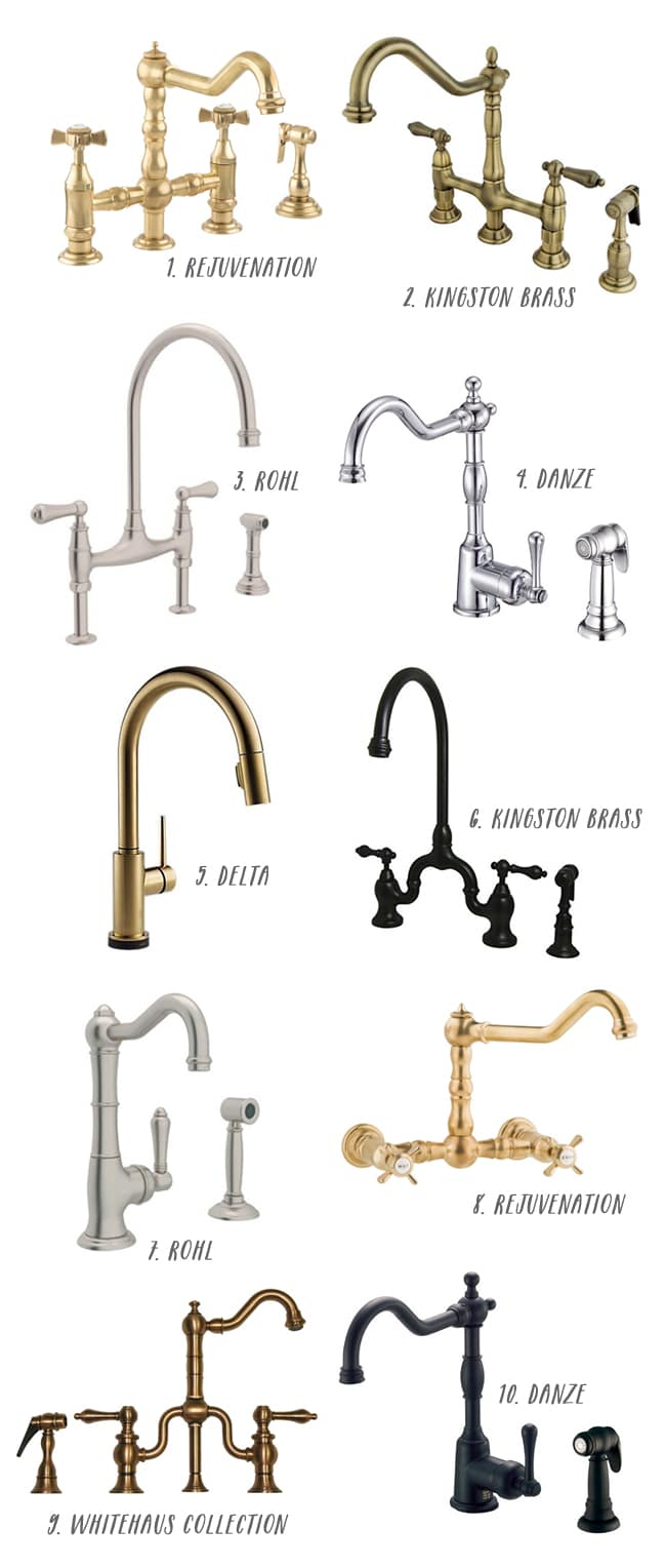 brass faucet and farmhouse sink sources farmhouse faucet kitchen 10 Great Kitchen Faucets click through for more details