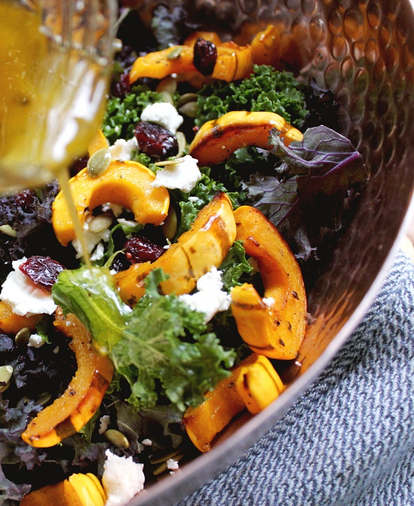 Vegetarian Thanksgiving Recipe: Kale Salad with Roasted Delicata Squash & Maple Vinaigrette