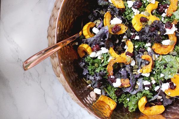 Fall Recipe: Kale Salad with Roasted Delicata Squash & Maple Vinaigrette