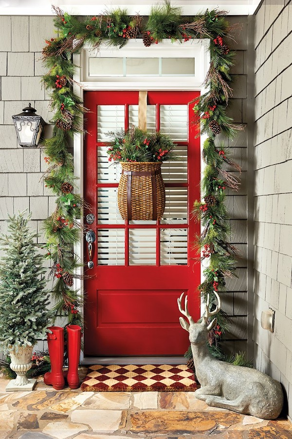 simply inspired holidays decorating your front door - How To Decorate Front Porch For Christmas