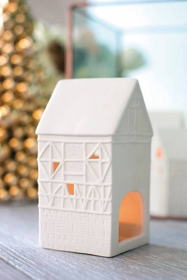 White ceramic tealight holder houses from Target - love these!