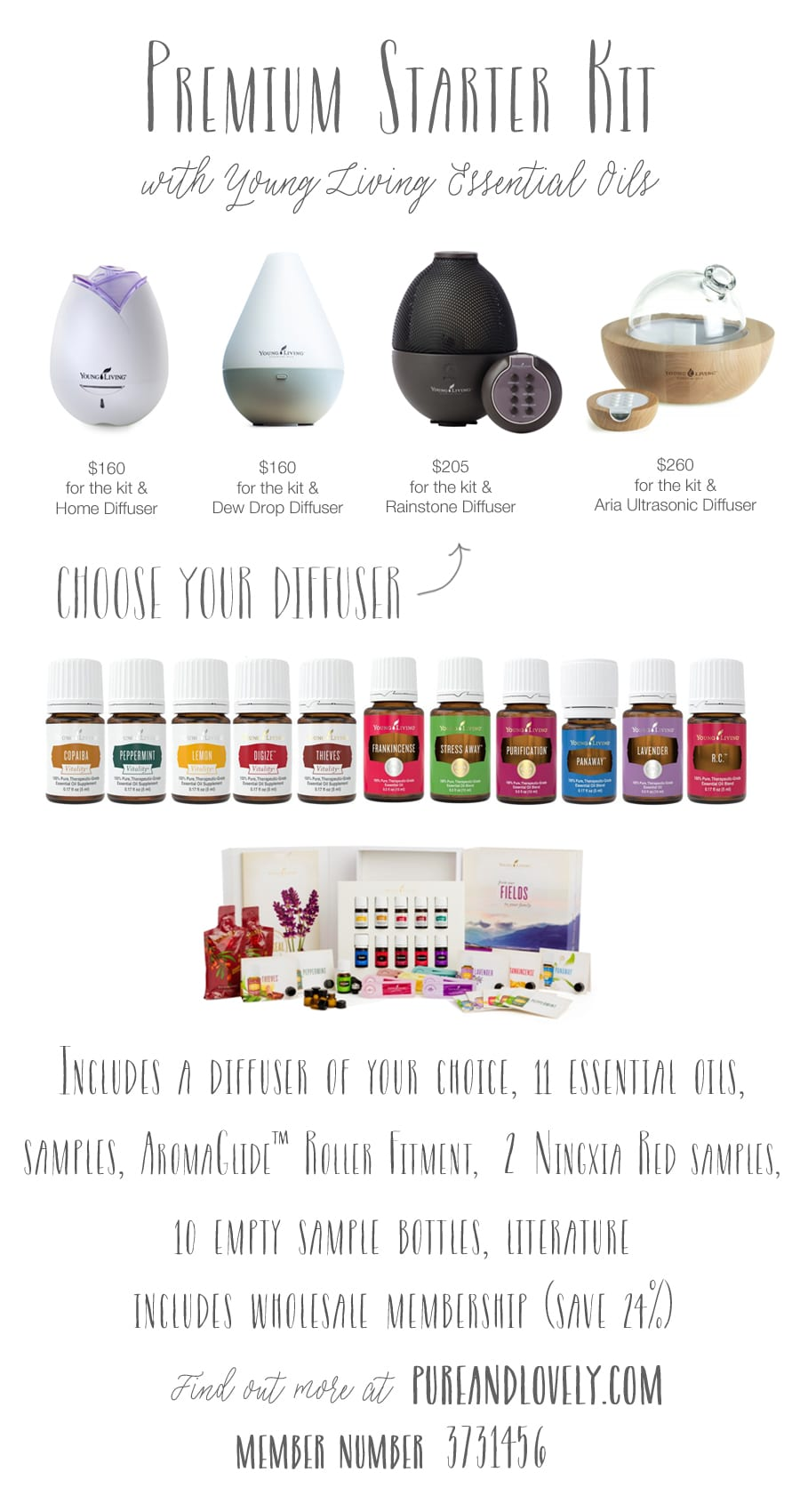 Get this amazing essential oils starter kit as a Young Living Wholesale Customer and join my community at Pure & Lovely!