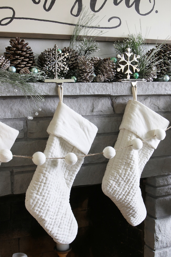 White velvet stockings, pom pom garland