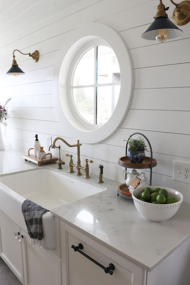 Shiplap Kitchen Planked Walls Behind Sink Stove The Inspired Room