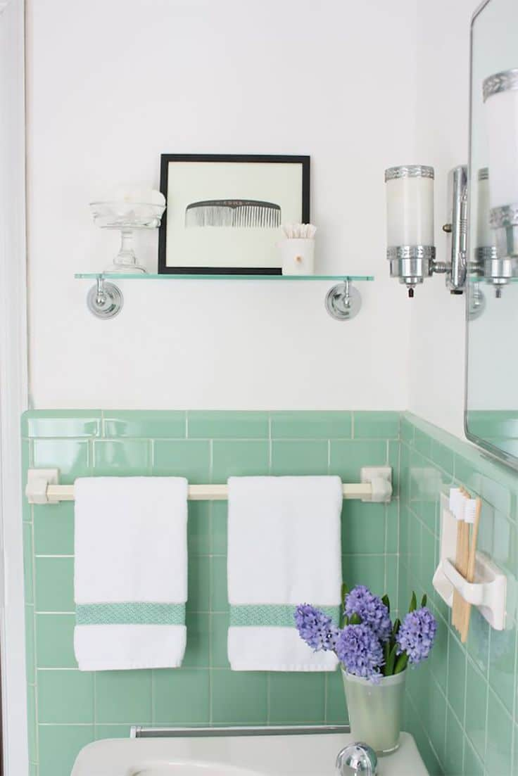 Vintage Bathrooms (My Mint & Pink Bathroom) - The Inspired Room
