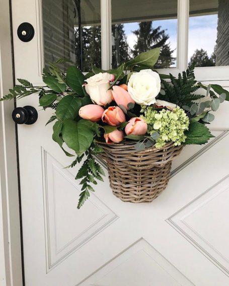 Spring Flower Door Basket