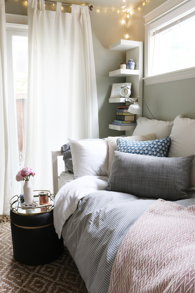 Tiny bedroom tour courtney 39 s room the inspired room for Bedroom design images small bedroom