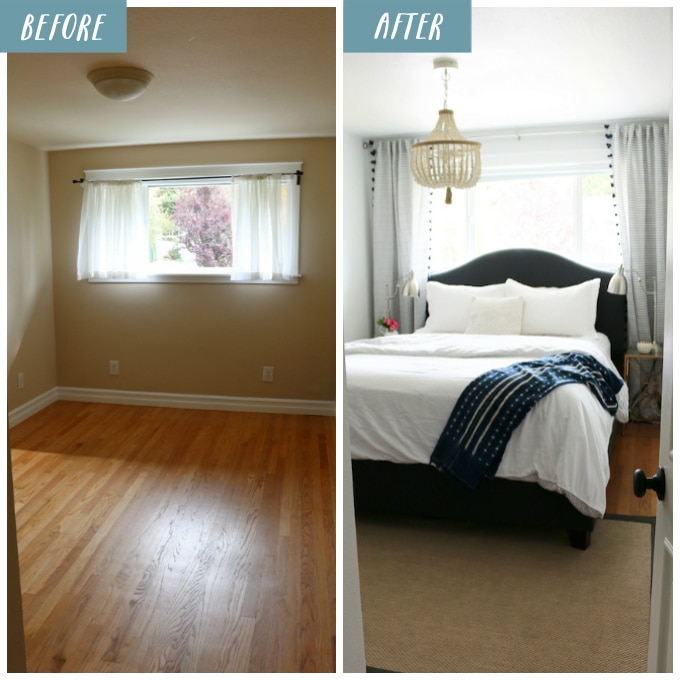 Coastal cottage bedroom makeover the inspired room for Bedroom makeover inspiration