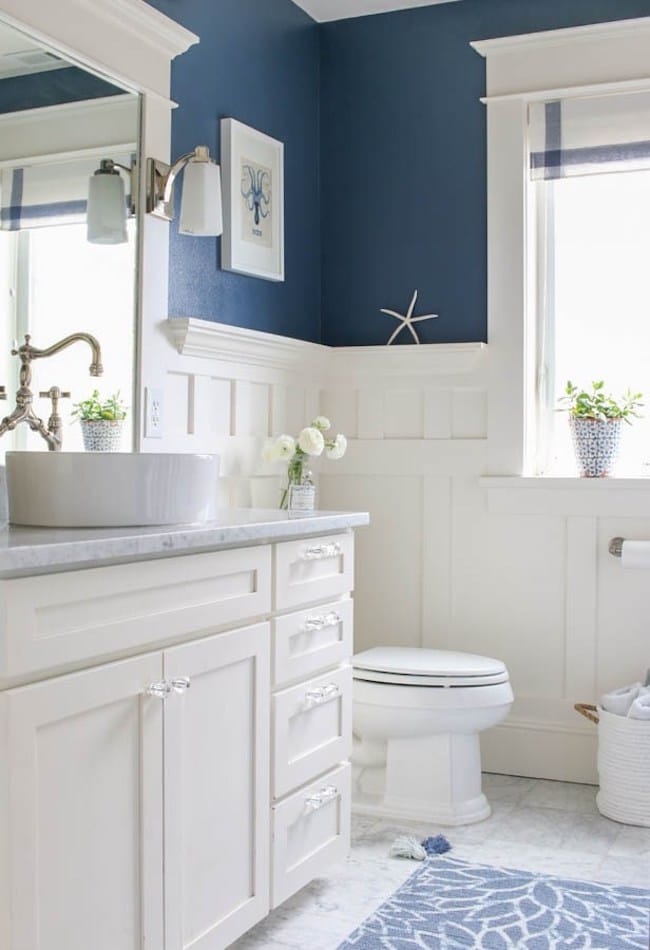 white bathroom design ideas 5 navy white bathrooms the inspired room 5996