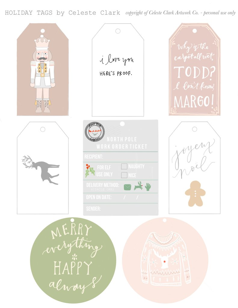 Free Printable Christmas Gift Tags and Gift Wrap - The Inspired Room