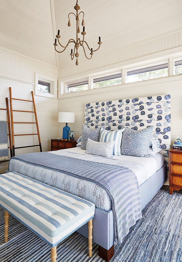 inspired by lovely lighting the inspired room 11294 | cottage bedroom blue and white with wood chandelier