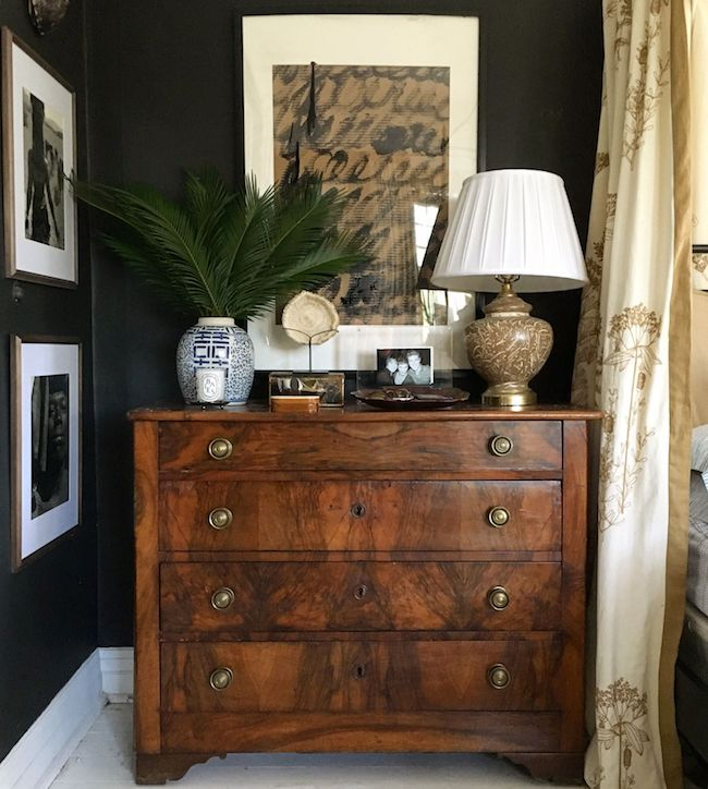 masculine and moody rooms get the look the inspired room 10419 | masculine decor wood nightstand and black walls