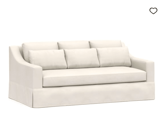 I ordered a new white slipcovered couch!