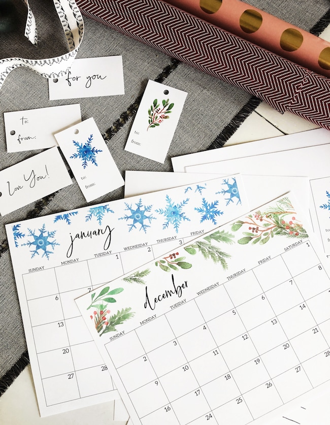 Free Christmas Printable Gift Tags + Winter Calendar
