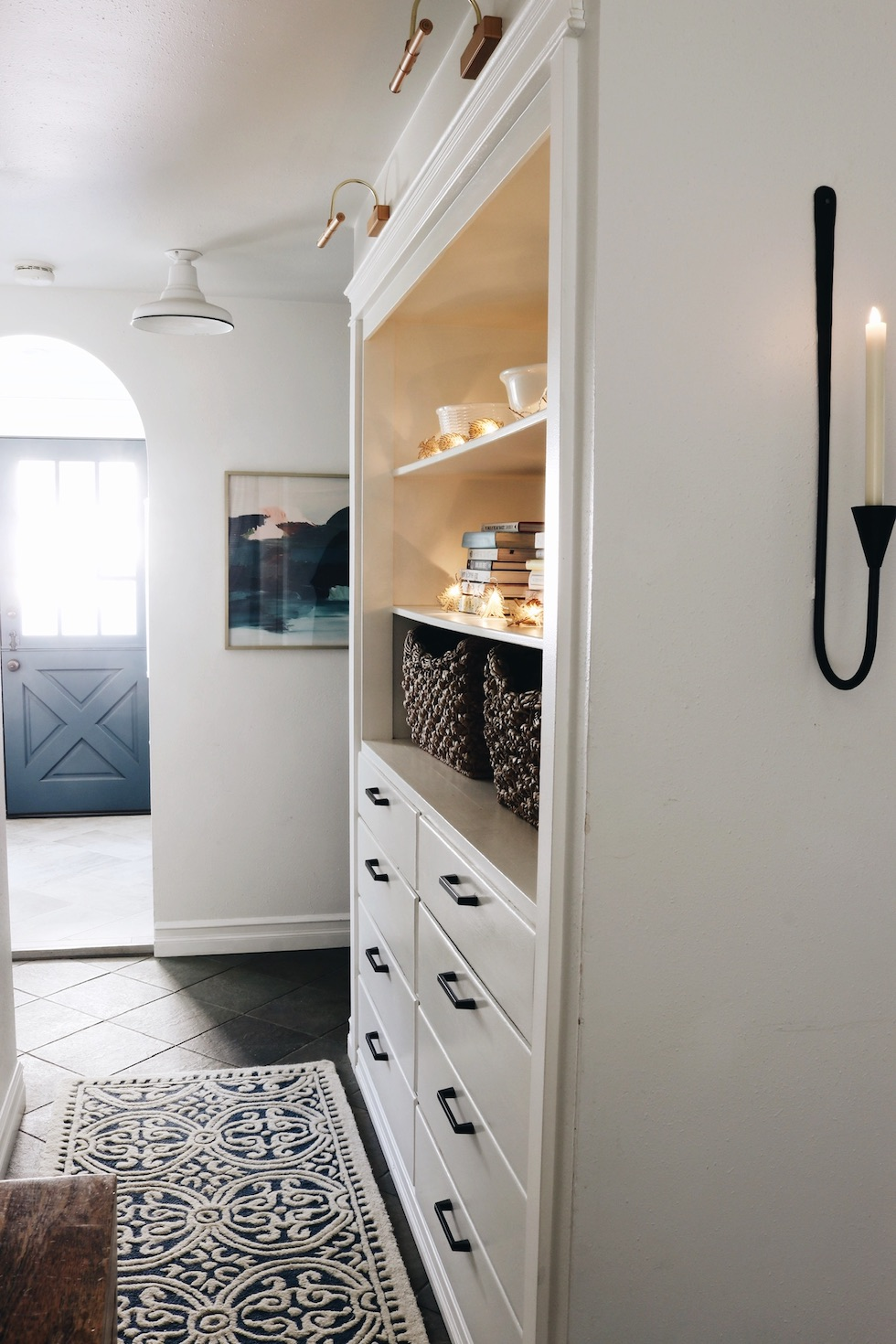 Hall Cabinet - Battery Library Lights and Removable Wallpaper
