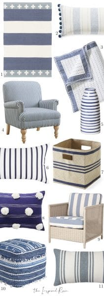 Gather: Blue and White Striped Decor