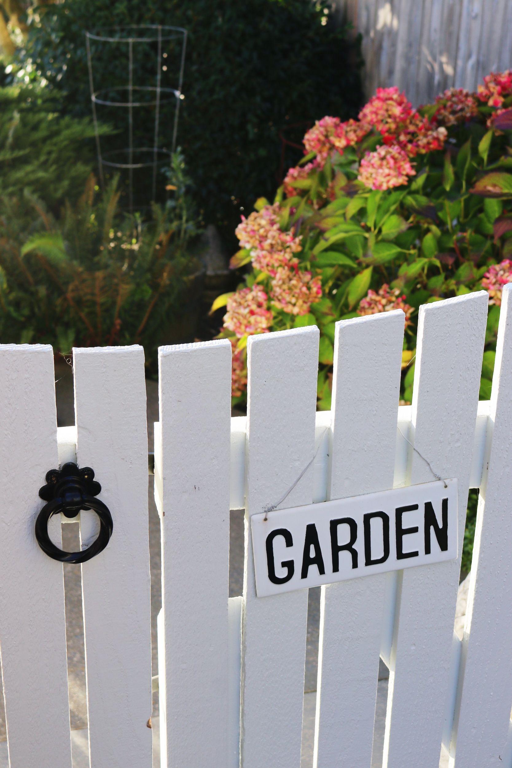 White Picket Garden Gates + Autumn Hydrangeas