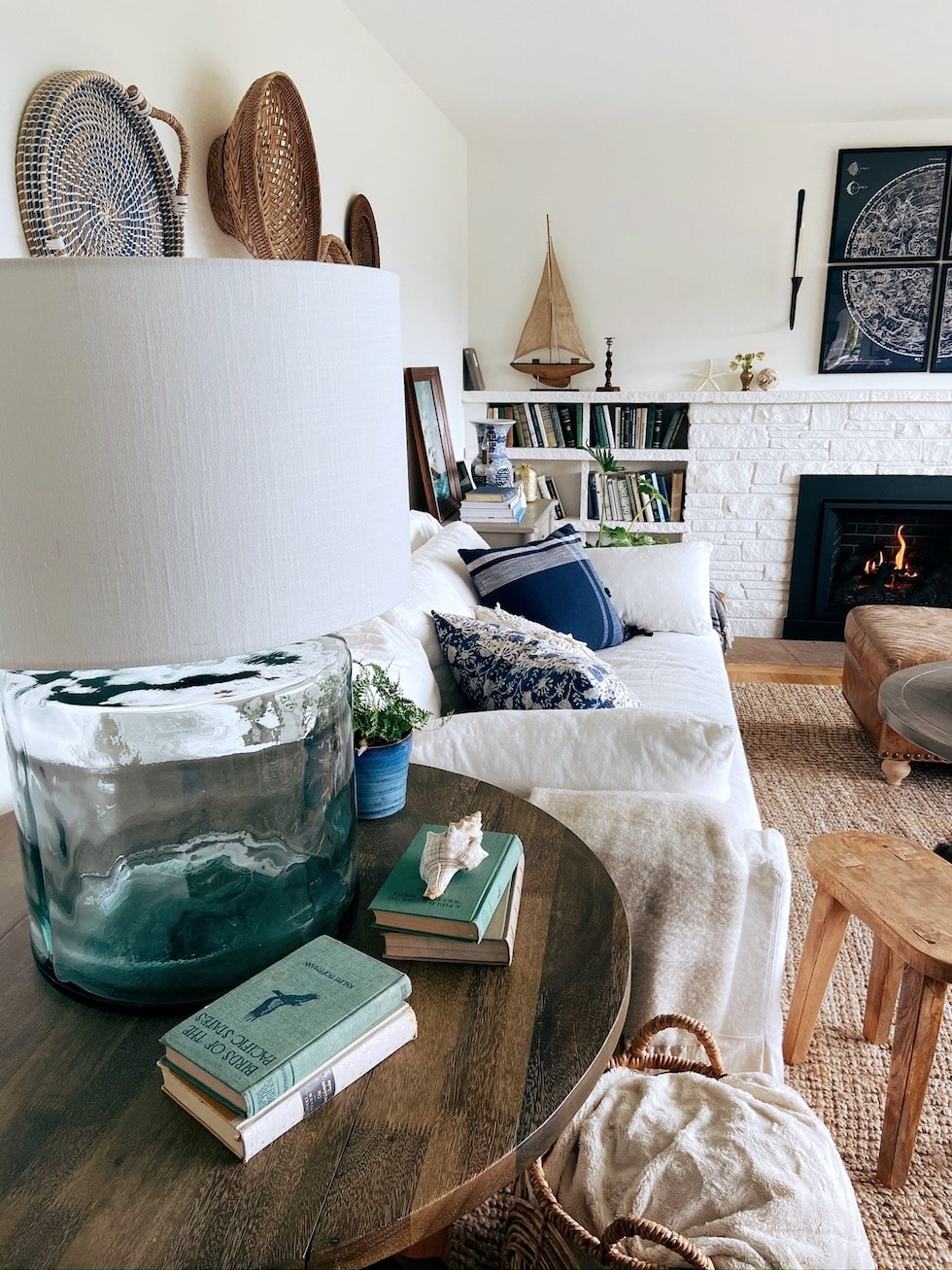 New Glass Lamp + Coastal Cottage Living Room