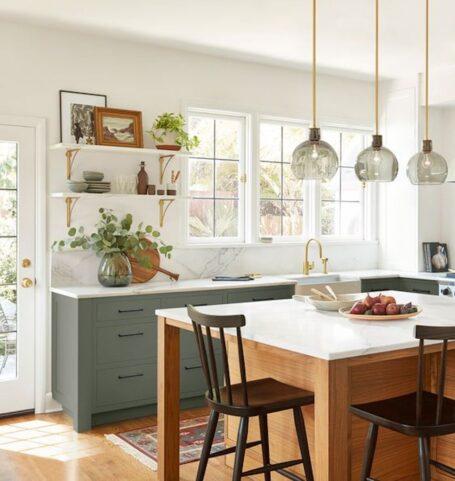 cozy green kitchen