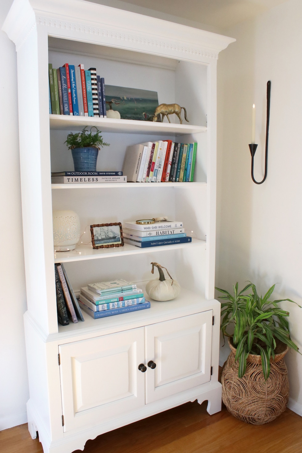 White Painted Wood Bookcase: Before & After