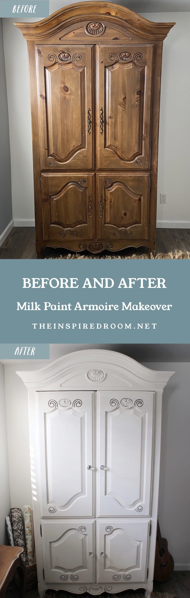 Before & After: Painted Armoire with Milk Paint
